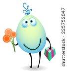 egg gives a present  | Shutterstock .eps vector #225752047