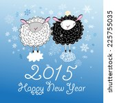 funny christmas card with sheep ... | Shutterstock .eps vector #225755035