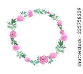 watercolor pink roses wreath.... | Shutterstock .eps vector #225758329