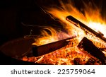 closeup to flames in a fire bowl | Shutterstock . vector #225759064