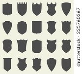 set of blank empty dark shields.... | Shutterstock .eps vector #225760267