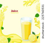 lemon juice with lemon slices... | Shutterstock .eps vector #225760531