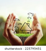 real estate idea  holding house | Shutterstock . vector #225795451