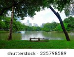 lake view of lumpini park in... | Shutterstock . vector #225798589