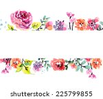 watercolor floral frame ... | Shutterstock .eps vector #225799855