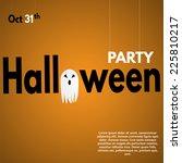 happy halloween label with... | Shutterstock .eps vector #225810217