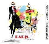 fashion girl in sketch style.... | Shutterstock .eps vector #225832207