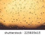 natural water drops on orange... | Shutterstock . vector #225835615