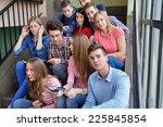 happy young teens group in... | Shutterstock . vector #225845854