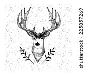 cute hand drawn deer with bird... | Shutterstock .eps vector #225857269