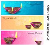 diwali diya strips | Shutterstock .eps vector #225872809