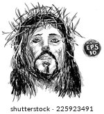 sketch of jesus christ. pen... | Shutterstock .eps vector #225923491