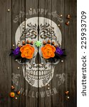 vintage halloween poster with... | Shutterstock .eps vector #225933709