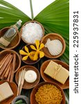 green palm leaf and spa setting  | Shutterstock . vector #225937831