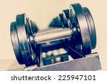 selective focus dumbbell... | Shutterstock . vector #225947101
