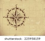 hand drawn compass rose on old... | Shutterstock .eps vector #225958159