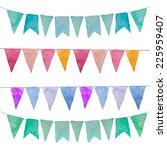 watercolor vintage flags... | Shutterstock .eps vector #225959407