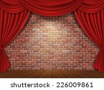 red curtains on brick wall... | Shutterstock .eps vector #226009861