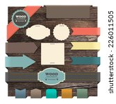 ribbon banner on wood texture... | Shutterstock .eps vector #226011505