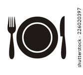 plate with fork and knife... | Shutterstock .eps vector #226020397