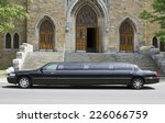 luxury black limousine awaiting ...