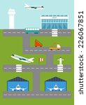 flat illustration with airport... | Shutterstock .eps vector #226067851