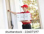 a handsome young pizza delivery ... | Shutterstock . vector #22607197