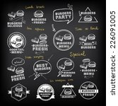 burgers set of icons menu ... | Shutterstock .eps vector #226091005
