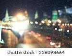 Background City Lights Snow...
