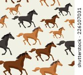 Stock vector seamless pattern with horse running in flat style 226107031