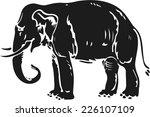 elephant silhouette in woodcut... | Shutterstock .eps vector #226107109