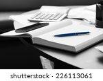 close up white memo notebook... | Shutterstock . vector #226113061