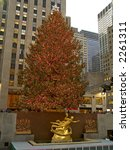The worlds most famous Christmas Tree and the Prometheus statue at Rockefeller center in New York city. - stock photo