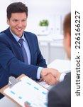 business people shaking hands ...   Shutterstock . vector #226166227