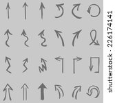 vector set of  gray  hand drawn ... | Shutterstock .eps vector #226174141