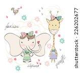 fashion elephant and giraffe.... | Shutterstock .eps vector #226202677