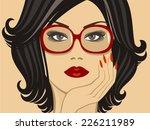 beautiful brunette in glasses   Shutterstock .eps vector #226211989