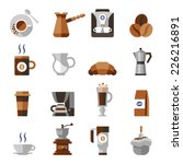 coffee icons flat set with...
