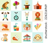 circus entertainment flat icons ...