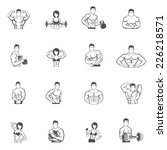 Постер, плакат: Bodybuilding fitness gym icons