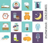 Sleep Time Icons Flat Set With...