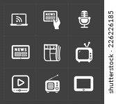 vector media icons set on dark... | Shutterstock .eps vector #226226185