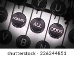 Small photo of Typewriter with special buttons, against all odds