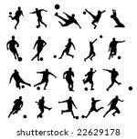 20 soccer poses silhouette. | Shutterstock .eps vector #22629178