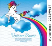 unicorn power with a rainbow... | Shutterstock .eps vector #226299697