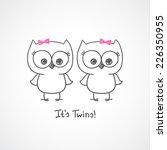 vector little owls twins  baby... | Shutterstock .eps vector #226350955