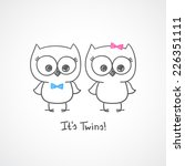 Vector Little Owls Twins  Baby...
