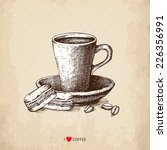 ink hand drawn coffee cup with...