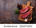 raw fresh meat striploin steak... | Shutterstock . vector #226371031