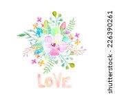 vector watercolor flower with... | Shutterstock .eps vector #226390261